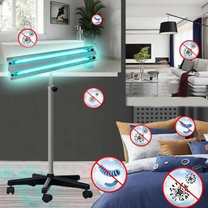 Lampa bactericida UVC, portabila 2x55W, orientabila, stativ telescopic 100-160 cm, reflector, 50 mp
